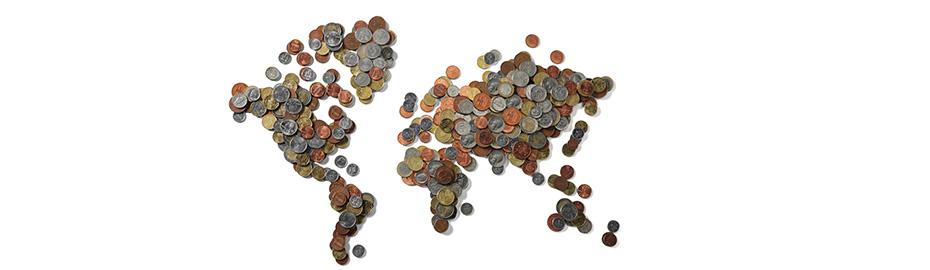 Auslandszahlungsverkehr, Weltkarte aus Währungen